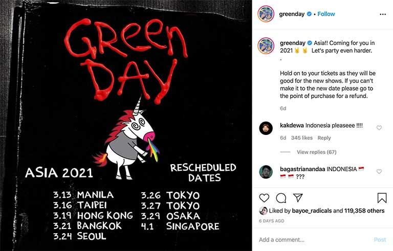 Perubahan Jadwal Green Day (Instagram Green Day)