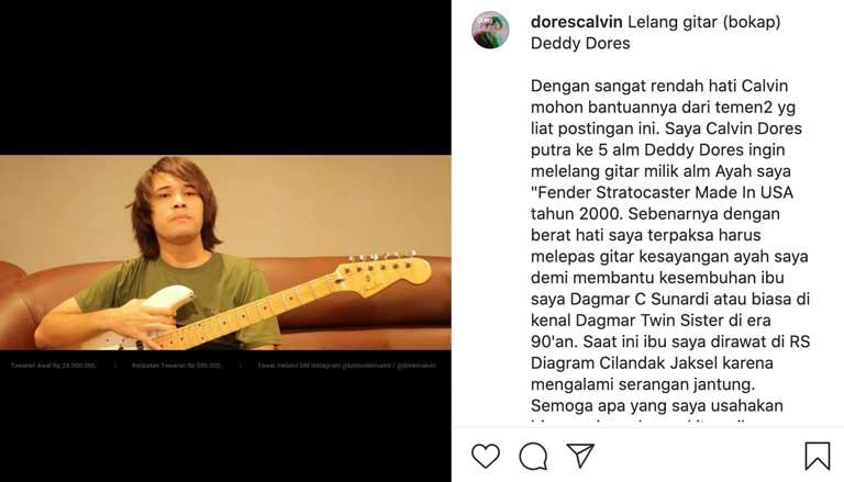 Calvin Dores melelang gitar melalui Instagram - Instagram/dorescalvin